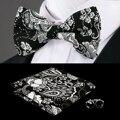 F-610 Hi-Tie New Black White Floral Bow Tie Bolso Praça Abotoaduras moda De Natal De Seda Laços Para Homens Terno Dos Homens Conjunto Gravata Borboleta
