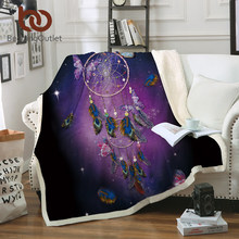 BeddingOutlet Butterfly Sherpa Blanket for Beds Velvet Plush Throw Blanket Dreamcatcher Purple Romantic Soft Bedding 1pc manta(China)
