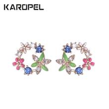 Elegant Luxury Cute Flower Stud Earrings with Zircon Stone Women Birthday Gift Bijouterie недорого