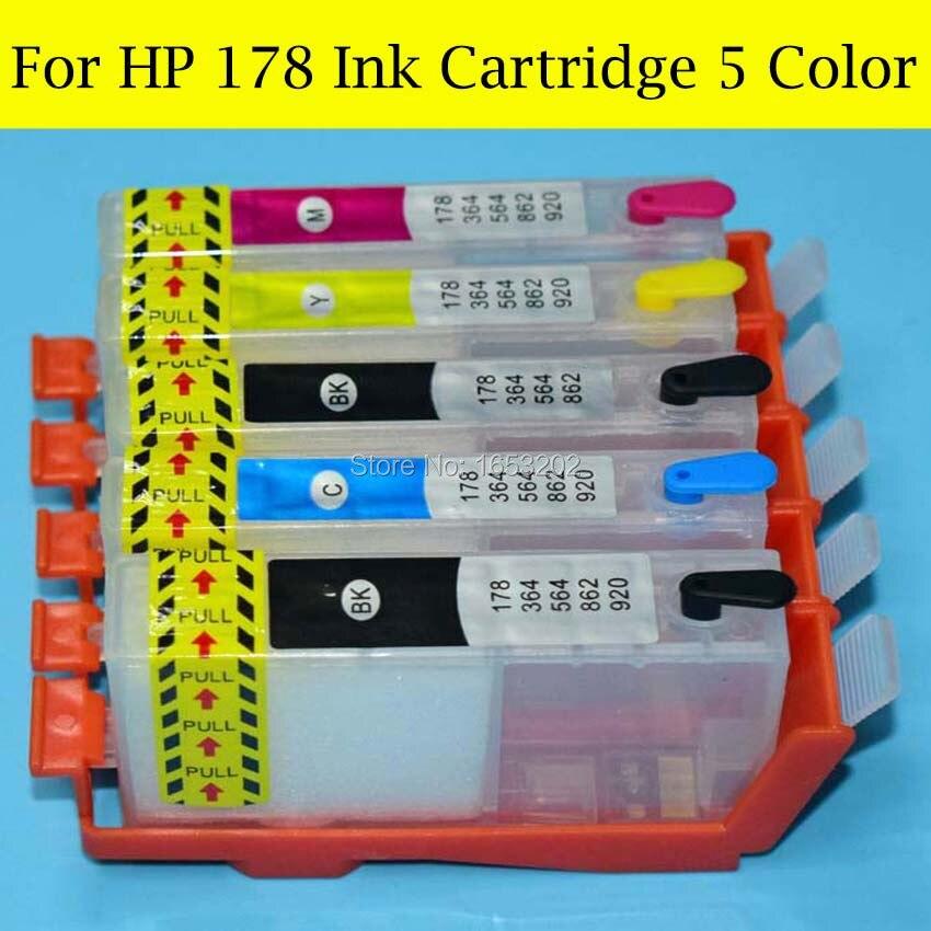цена  5 Pieces/Lot HP178 Ink Cartridge With For HP 178 ARC/Auto Reset Chip For HP 7510 C5380 C6380 C6380 D5460 D5463 Printer  онлайн в 2017 году