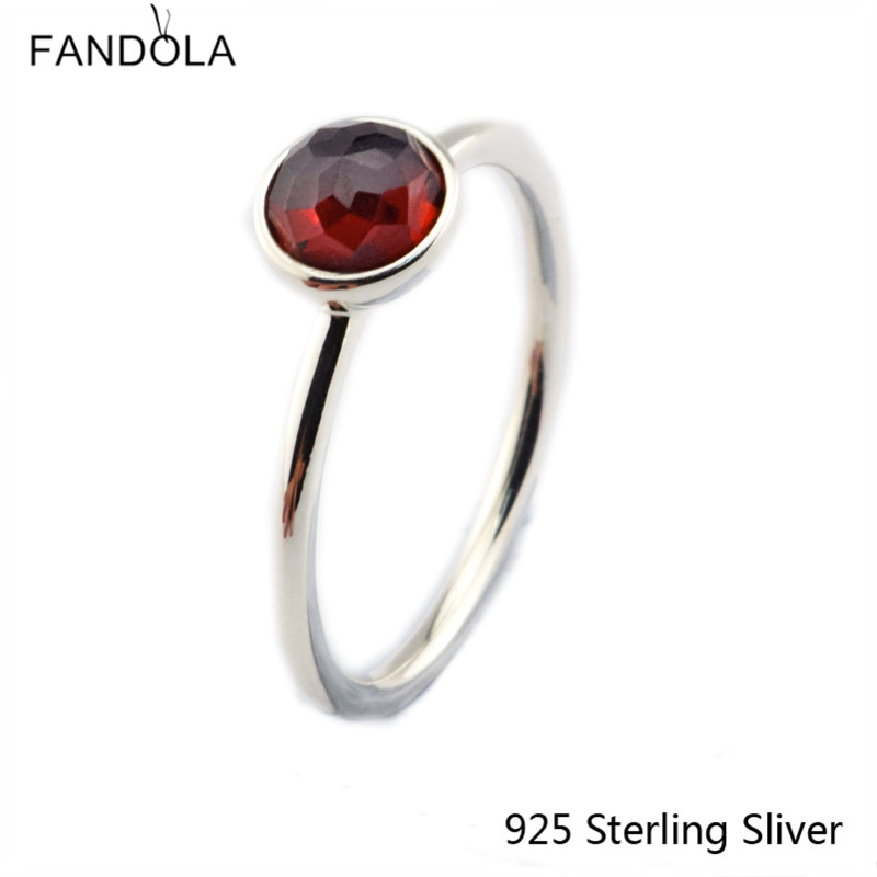 CKK 925 Sterling Gümüş Yanvar Damlası, Qadınlar üçün Garnet - Gözəl zərgərlik - Fotoqrafiya 1