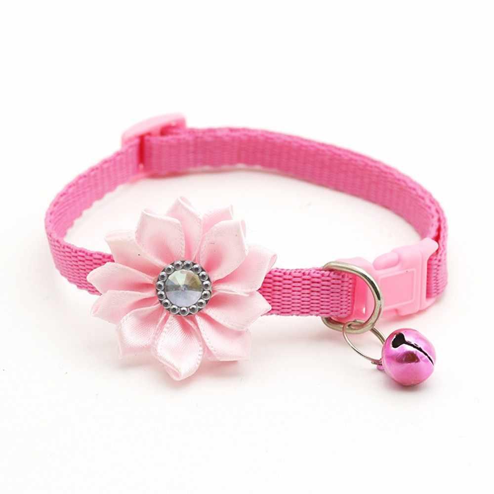 かわいい犬の首輪調整可能なソフトペット首輪花鐘チャーム首輪小型犬猫用のネックレスペット