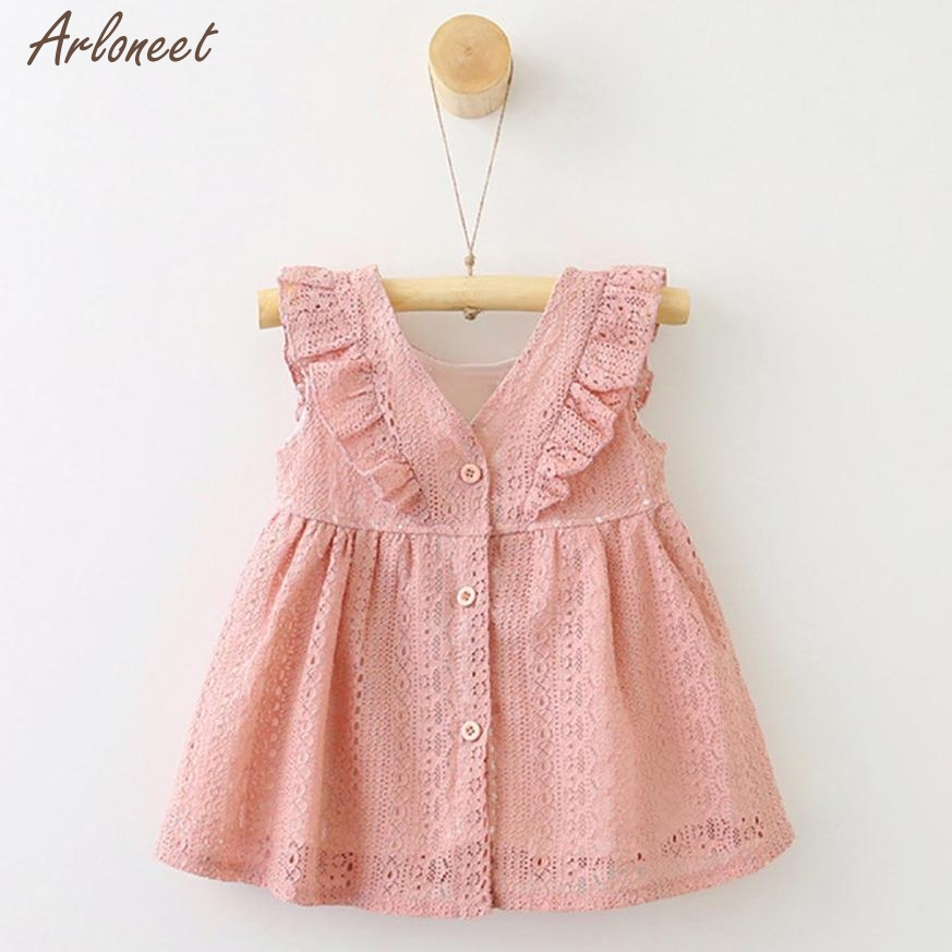 2018 baby dresses girl toddler sleeveless Lace Ruffles Princess Button Hollow Dress MAR21