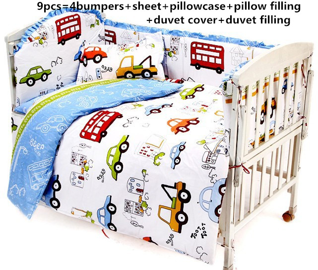 Promotion! 6/7PCS 100%cotton reactive printing baby bedding set/cotton crib bedding , 120*60/120*70cm
