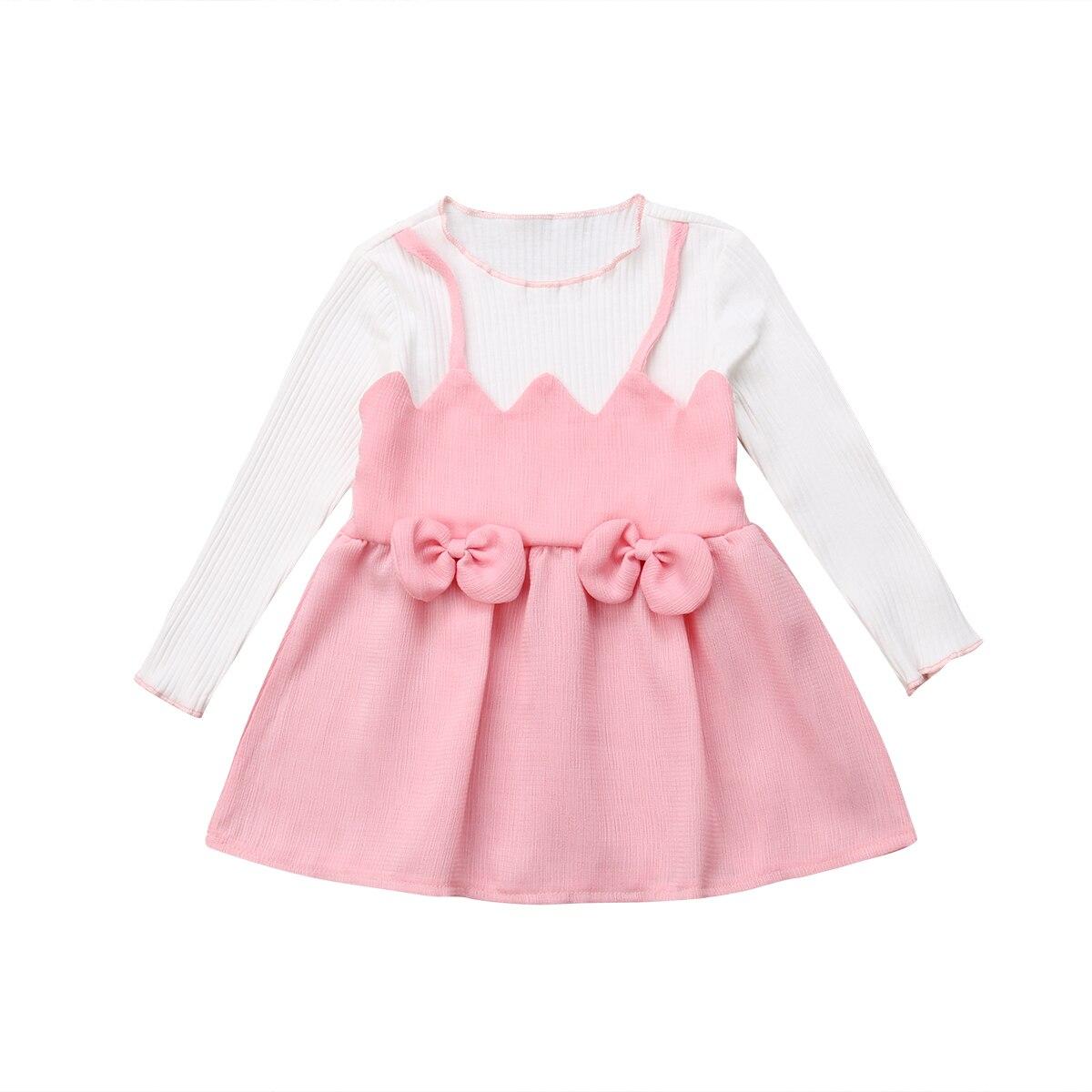 Autumn Long Sleeve Pink Dress Cute Toddler Kid Baby Girls ...