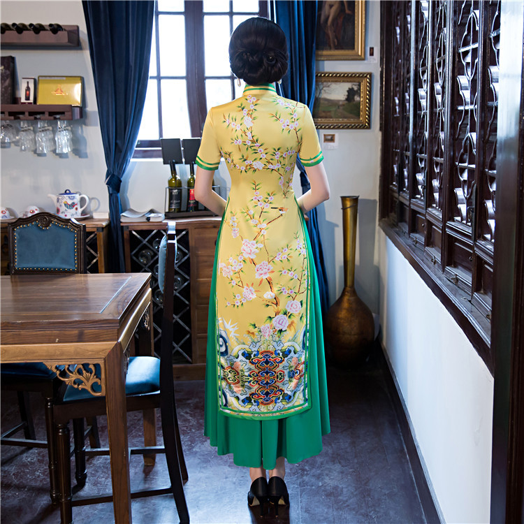 Xxl Taille M Cheongsam style S 3 6x5814 2 Rayonne Xl Long 1 style Top 4 Style Chinois Xxxl Femmes style Élégant Vente De style Femelle D'été L Robe 5 Satin Qipao Robes aq60fHZ