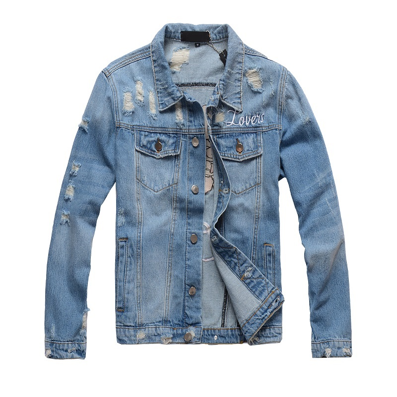 Mens Distressed Embroidery Skull Heart  Biker Blue Denim Jacket   1