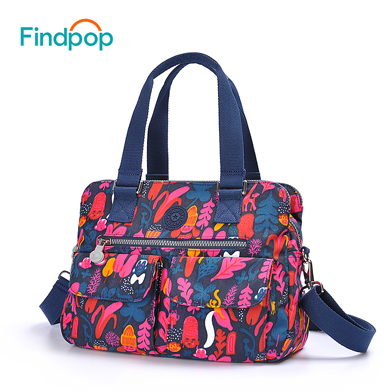 Findpop Floral Printing Handbags Women Large Capacity Casual Crossbody Bags For Women 2018 New Waterproof Nylon
