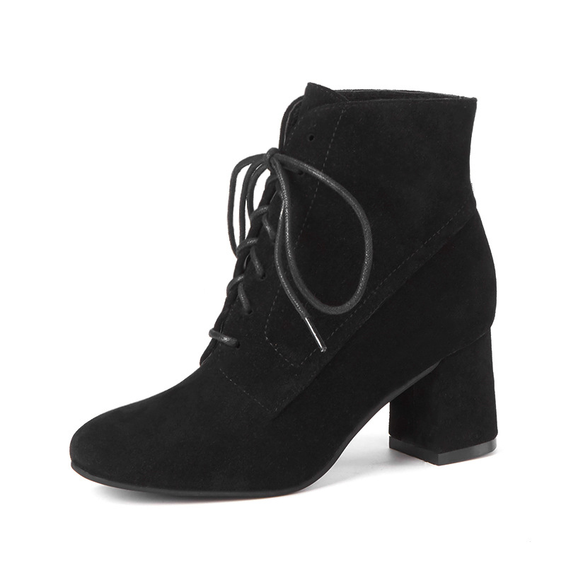 2018 autumn and winter new high-heeled round head front with thick with womens boots suede wild black ljj 11022018 autumn and winter new high-heeled round head front with thick with womens boots suede wild black ljj 1102