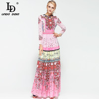 High Quality New 2017 Fashion Runway Maxi Dress Long Sleeve Women S Cute Floral Printed Long
