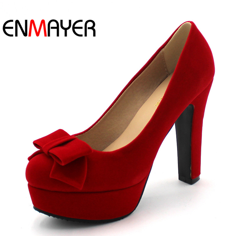 ENMAYER High Heels Round Toe Slip-on Women Pumps Party Shoes Woman Shallow Pumps Wedding Fashion Black Red Womens Shoes boy toys foam remote control plane 4ch rc plane 600m control fixed wing f15 s27 fighter glider aircraft model epp kids toys