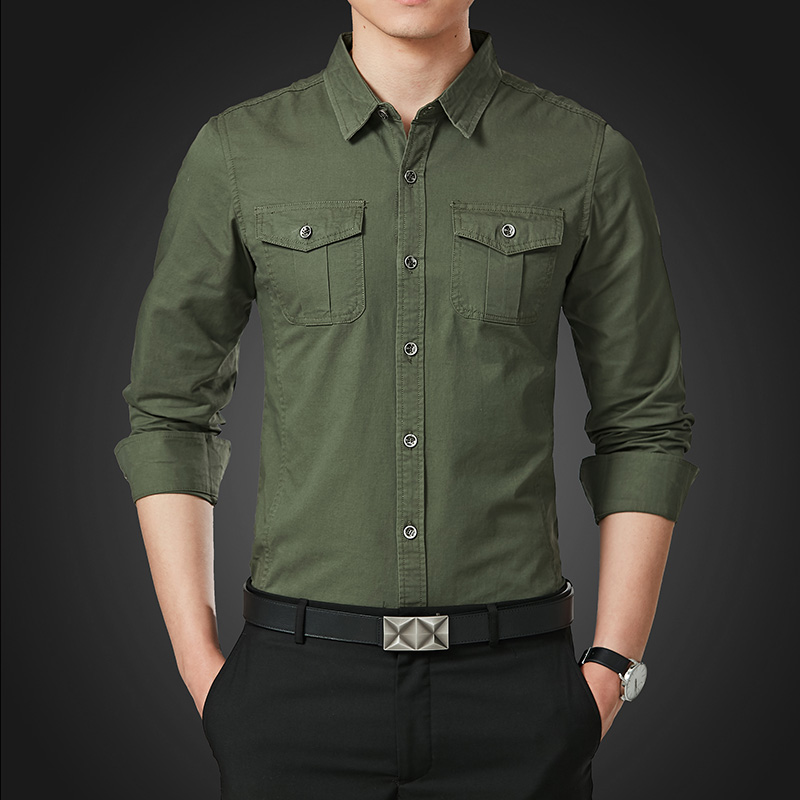 Selfless Large Sizes Men Shirt Long Sleeve Double Pocket Solid Color Mens Shirts Casual High Quality Khaki Blue Green Mens Shirts Casual Shirts