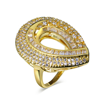 Heart Rings For Women 18k Gold And Rhodium Plated With White CZ Ring Jewelry Free Shipment