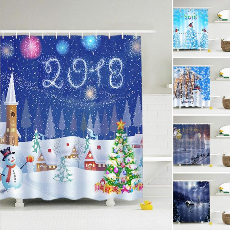 Christmas Shower Curtain 2018 New Year Polyester Cartoon Printing Waterproof Fabric Bathroom Shower Curtains Bath Shadow V3