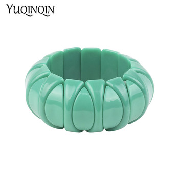 Manguito de resina clásico, pulsera amplia de moda para mujeres, pulseras de eslabones acrílicos verdes elásticos, amuleto femenino, joyería Simple