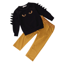 2pc Baby Kids Boys Clothes   Black Long sleeve  Pullovers Yellow Pant Clothes Set 2-3T