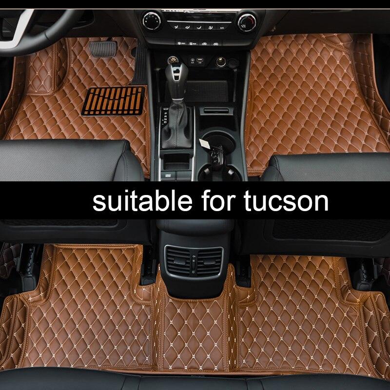 Lsrtw2017 fibre de cuir intérieur de voiture tapis de sol pour hyundai tucson 2005-2020 2006 2007 2019 2018 2017 2016 2015 2014 2013 2012