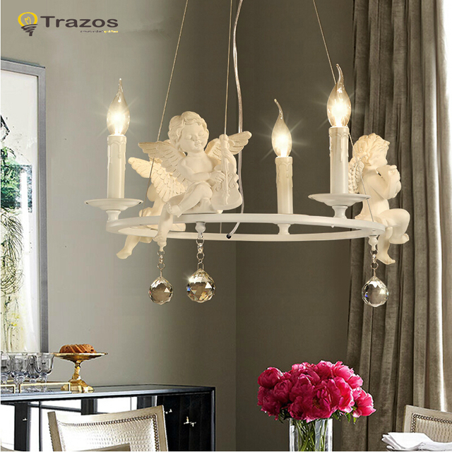 Modern Crystal Chandeliers With The Angel For Living Room Light Lamps Lustre Lighting Led Pendant