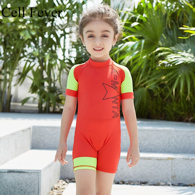 Sunsuit Swimwear Beachwear Kids Girls Boys One-piece Swimming Rash Guard UV 50