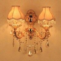 Europeu Liga de Ouro Esculpida de Cristal Tecido Luzes de Parede Do Corredor Quarto Cabeceira Arandelas de Parede Vela Estilo Sala de estar Luz de Parede
