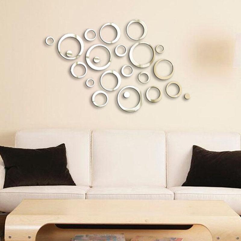 Lo nuevo diy efecto espejo de acrílico etiqueta de la pared círculo arte mural e