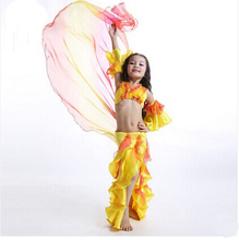 Free-shipping Sexy Belly Dance Costumes for Child or Kids nice Flowers shape Children dancing practising Clothes Set