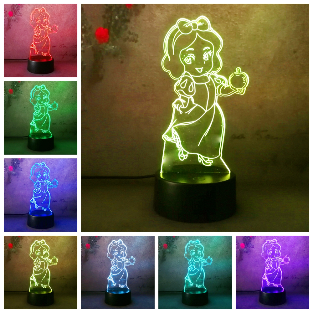 3d Fille Cadeau Princesse Neige Blanc Illusion Led Bureau Lampe De