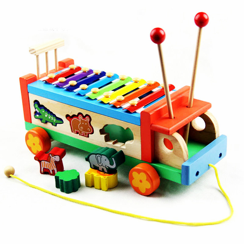 Free shipping Wooden music Animal Drag Car Blocks toy Kids cartoon block xylophone Baby Wood Drawable car Noise Maker toy gifts