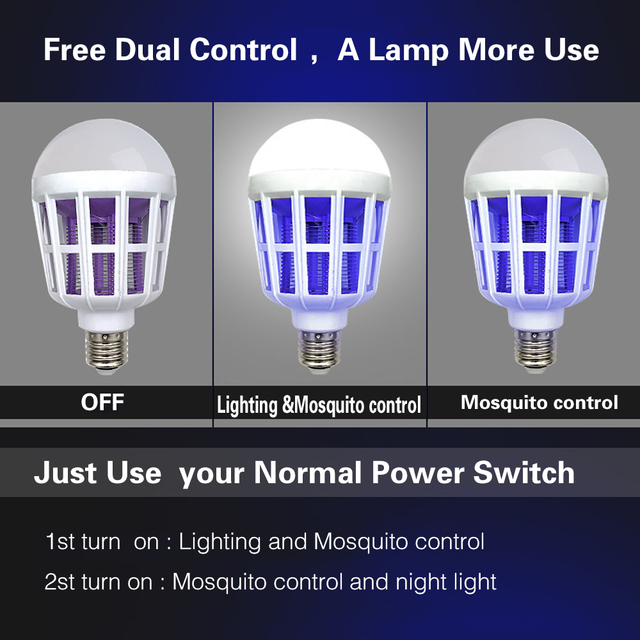 Indoor 2 Modes E27 LED Mosquito Killer Lamp Bulb Electric Trap Light Electronic Anti Insect Bug Pest Fly for Outdoor kitchen 3