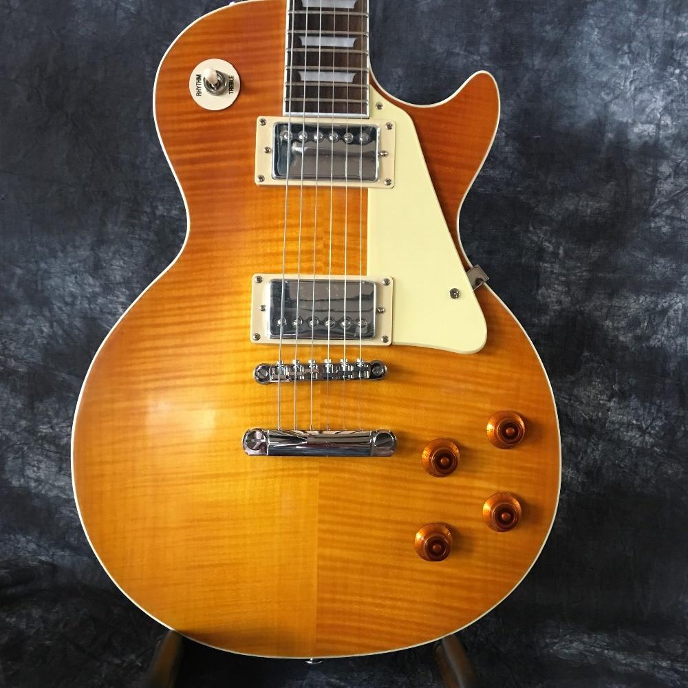 Wholesale custom shop 1959 R9 Tiger flame electric guitar, standard electric guitar LP 59 free shipping