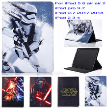 Nova Moda Movie star wars Dos Desenhos Animados pu couro Stand case capa para apple ipad 5 6 air air 2 ipad 2 3 4 ipad 9.7 2017 2018 caso(China)