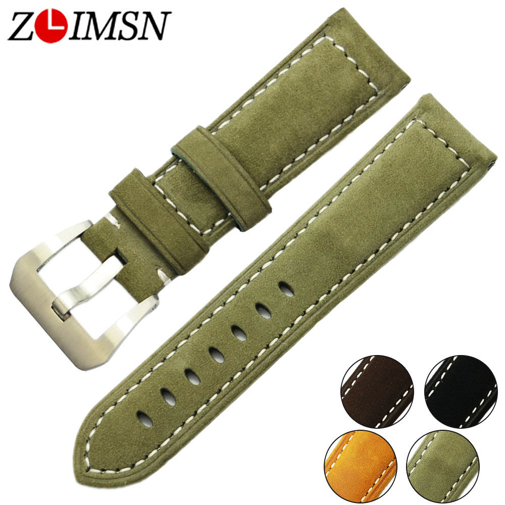 ZLIMSN Men's Clock Genuine Leather Watch Band 22mm Watches Straps Suitable for Panerai Watch Strap 24mm Watchbands Pin Buckle цена и фото