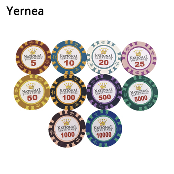 Yernea 25PCS/Lot Poker Chips 14g Crown Sticky Clay Coin Baccarat Texas Holdem set For Game Play Color