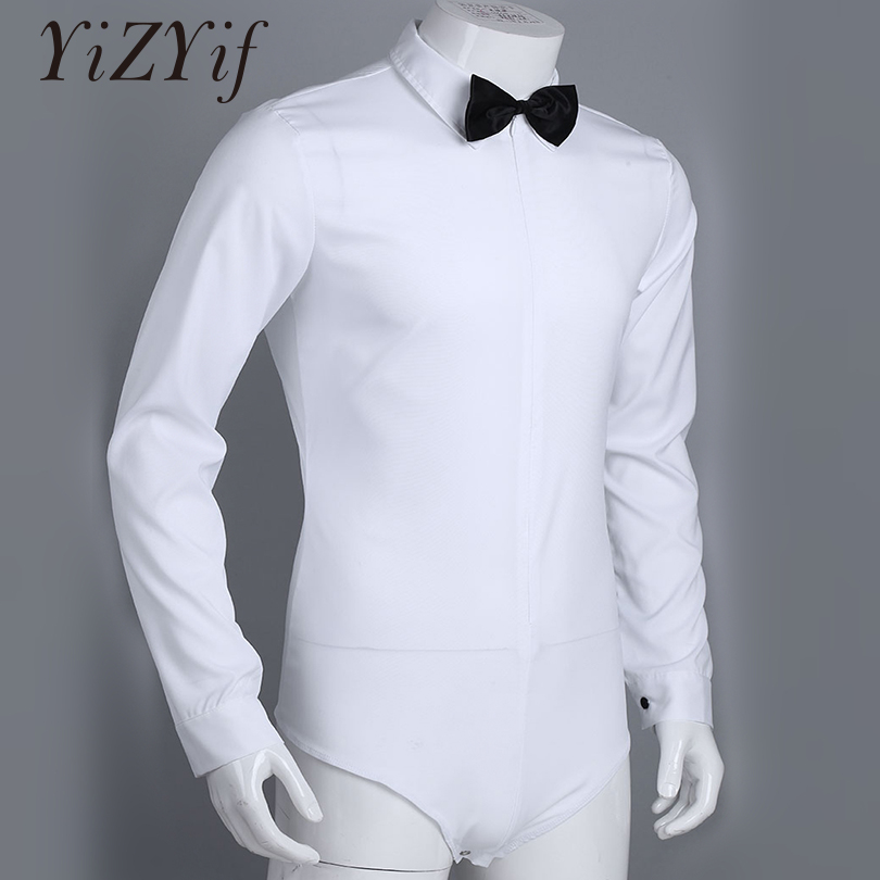 YiZYiF Latin Dance Mens Long Sleeve Zipper Solid Color Latin Modern Dance Shirt With Bowtie One-piece Romper Shirt Dance Costume