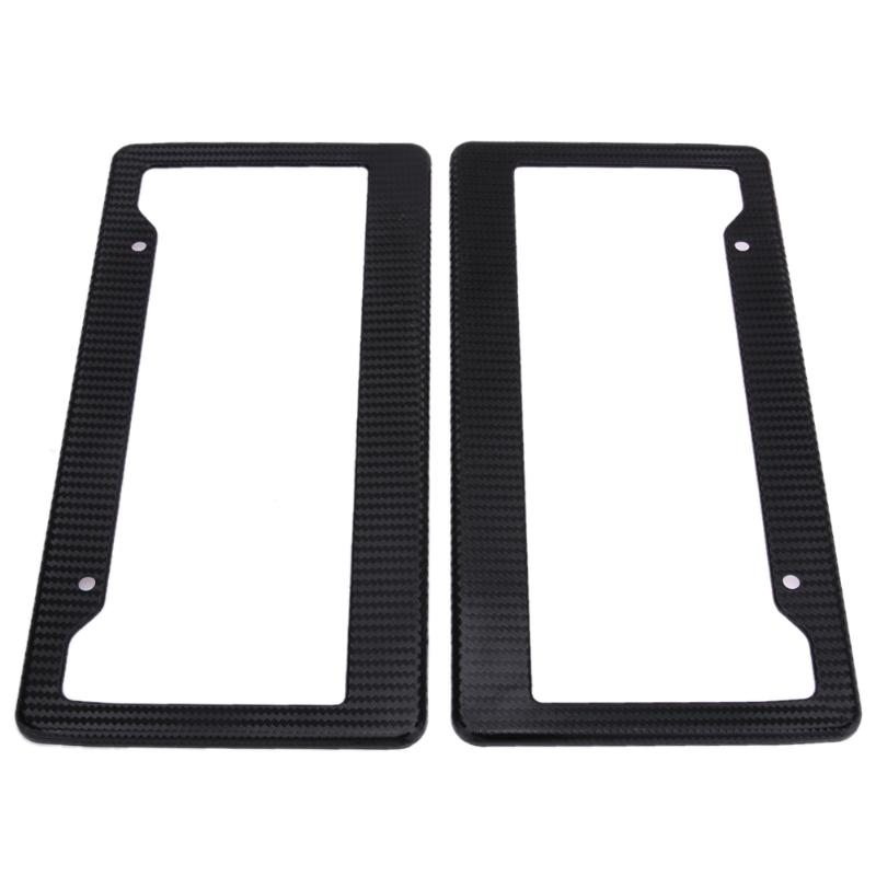 2x Plastic Carbon Fiber License Plate Frame Tag Cover Front /& Rear Universal Car