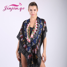 Jinjin.QC Womens Tops For Summer Ladies Sleeve scarf Floral Print Open-Front Boho Tassel Casual Kimono scarves and pashminas