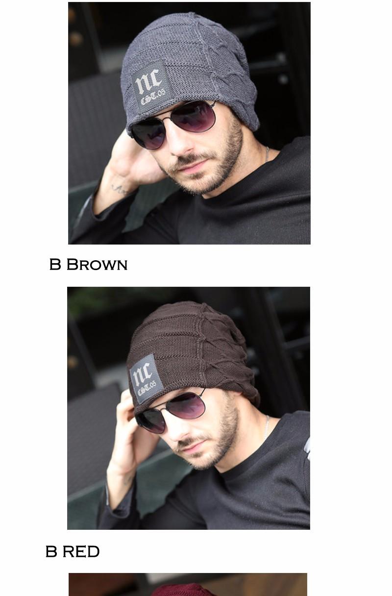 FETSBUY Brand Beanies Knit Men'S Winter Hat Caps Thick Skullies Bonnet Hats For Men Women Beanie Female Warm Baggy Knitted Hat 18