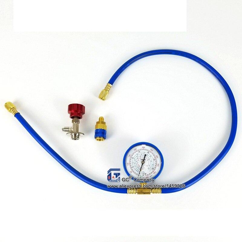 R134a R22 R410a R404a Kältemittel Lade Schlauch mit Manometer Aufladen Mess Werkzeug