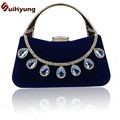 New Women Party Evening Bag Fashion Elegant Upscale Velvet Tote Ladies Handbag DIY Giltter Crystal Day Clutches Female Bolsas