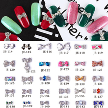 цены 10pcs/lot 3D Alloy Pearl Bow Tie Bowtie Nail Art Glitters Stickers DIY Rhinestone  Bowtie Nail Tips DIY Rhinestone Nail Art Decoration