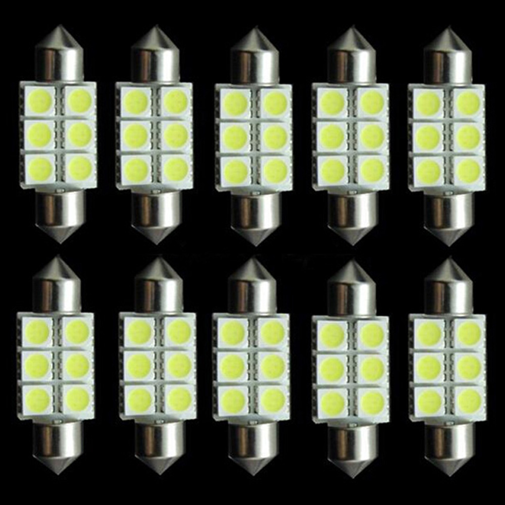 10pcs Xenon White 36mm Festoon 5050 6 SMD LED C5W Car Led Auto Interior Dome Door Light Bulb Pathway lighting 6smd 12V Work Lamp festoon 36mm 1 8w 180lm 9 x smd 5050 led white light car reading roof dome lamp 12v pair