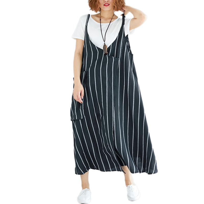 b62ad938be DIMANAF Women Dress Summer Plus Size Femme Sundress Sleeveless Linen  Striped Black Lady Elegant Vestido Long