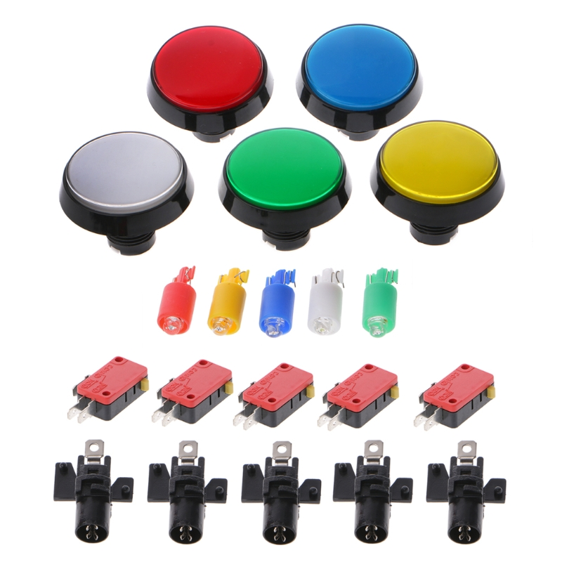 High quality 2019 New 5 Pcs/Set 5 Colors <font><b>60mm</b></font> Round Push <font><b>Button</b></font> Switch For Game Player Arcade Joystick image
