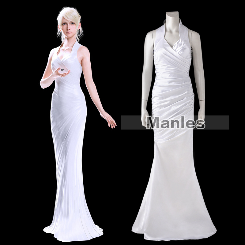 Lunafreya Nox Fleuret Dress Final Fantasy XV Costume Cosplay White Fancy Halloween Costumes Disguise For Woman Customize Adult