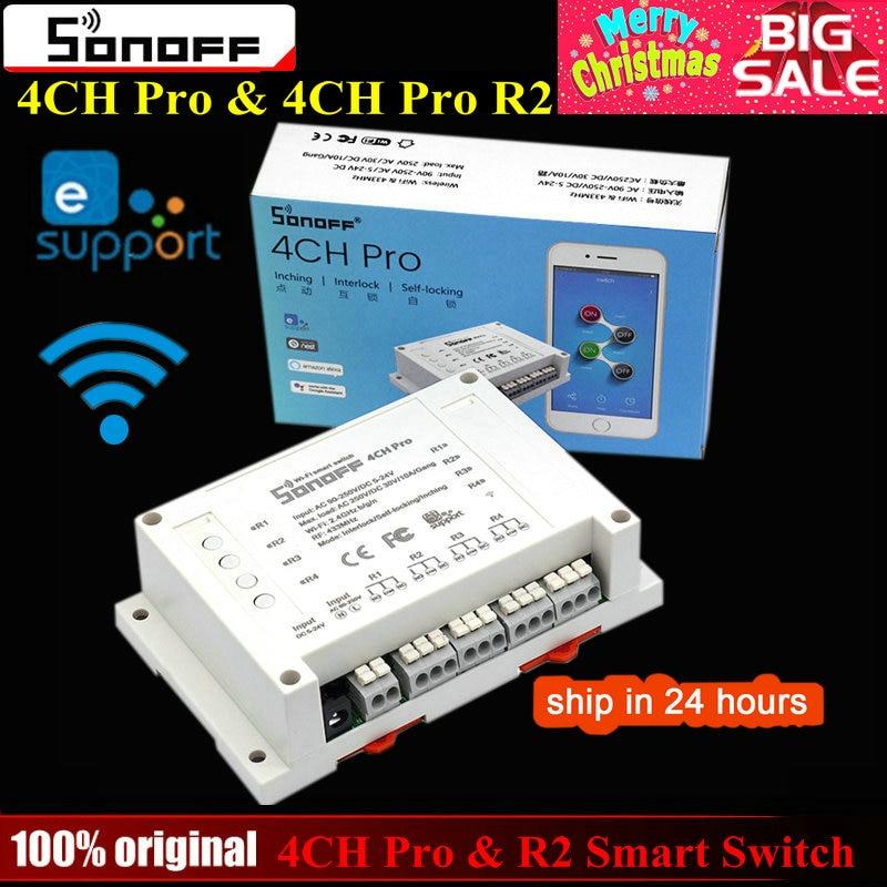 Sonoff 4CH Pro & Pro R2 Smart Wifi Schalter Hause 433 mhz RF Wifi Licht Schalter 4 Gang 3 Arbeits modi Tipp Verriegelung Mit Alexa