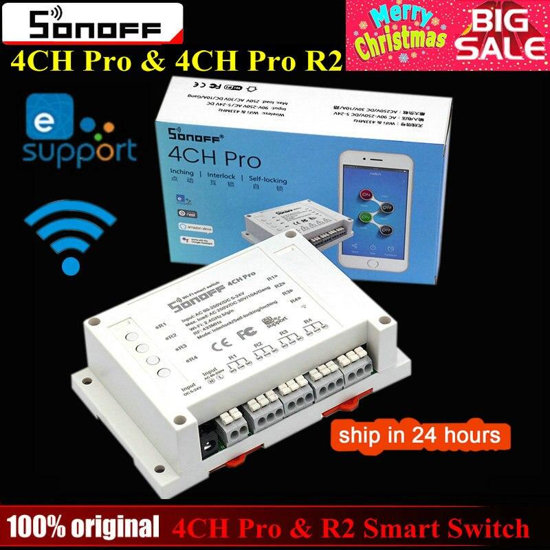 Sonoff 4CH Pro y Pro R2 Wifi inteligente interruptor casa 433 Mhz RF Wifi interruptor de la luz 4 3 modos de empujando Interlock con Alexa.