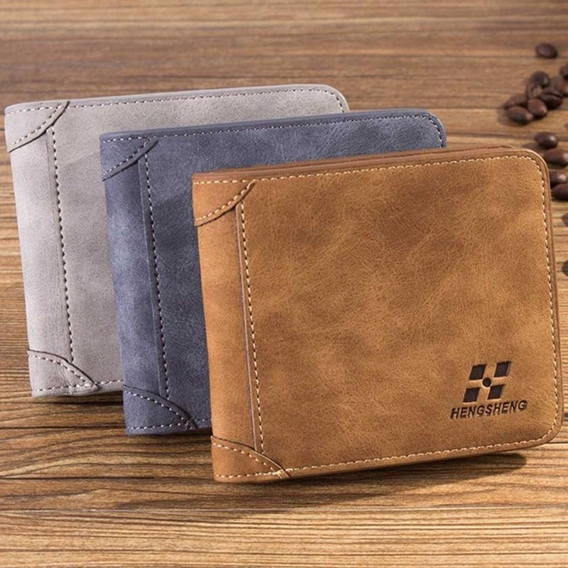 MEN/'S CASUAL FROSTED FAUX LEATHER CASH CARD PHOTO HOLDER SHORT WALLET LOT NICE
