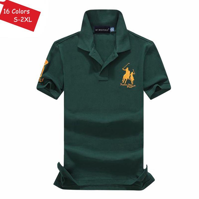 Image 2 - Good quality 2019 Summer brand Mens short sleeve horse polos  shirts casual mens cotton lapel polos shirts fashion mens slim  topsPolo