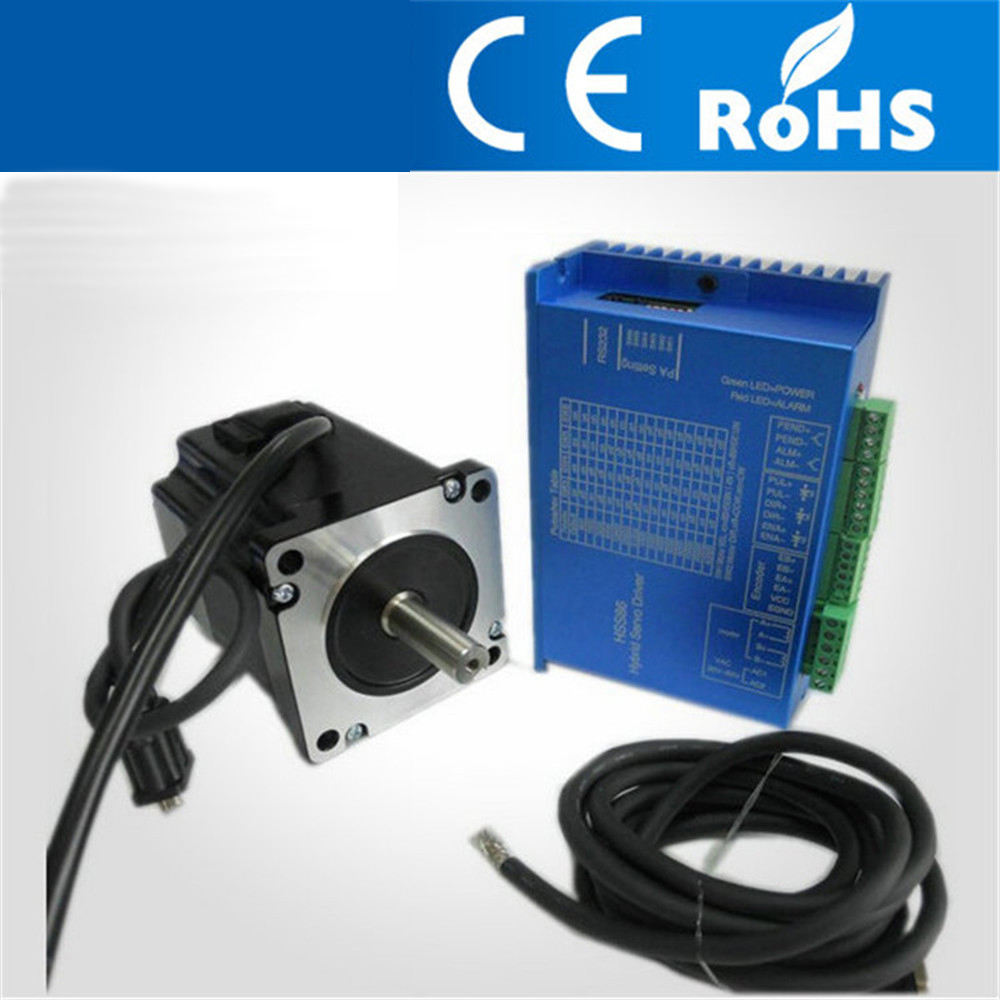 12.5N.M 6.2A 4 wires 86mm NEMA34 Closed Loop Stepper Motor With Driver And 3M Cables for CNC Mill JK86HS155 6204 Free shipping