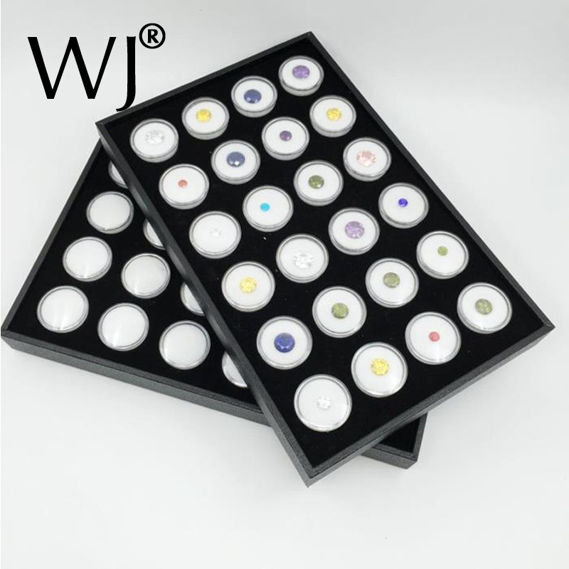 24 White Gem Jar Foam Insert Tray Jewelry Display Organizer Gemstones Storage Case Loose Diamond Jewellery